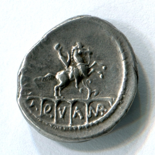 Coin showing Roman King Ancus Marcius.  Crawford 425/1 56 BC